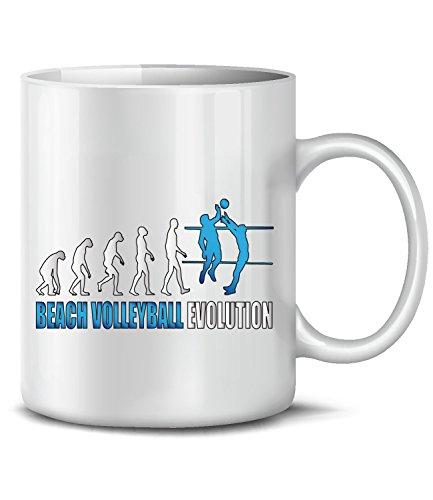 Beach Volleyball Evolution 689 Sport Fun Tasse Geschenke Geschenkideen Geburtstag Weihnachten Männer Mädchen Tasse Becher Kaffeetasse Weiss-Blau