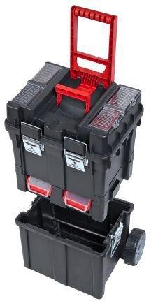 Werkzeugkoffer Werkzeugwagen Rollwagen Wheelbox HD Compact schwarz / rot Trolley Rollen - 9