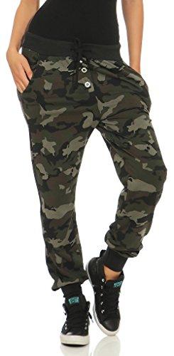 Malito Damen Sweathose im Camouflage Look | Baggy zum Tanzen | Jogginghose mit Knopfleiste | Sweatpants - Trainingshose 8019 (schwarz)