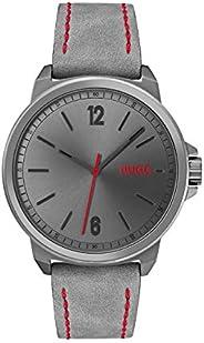 Hugo Boss Men's Grey Dial Grey Leather Analog Watch - 153