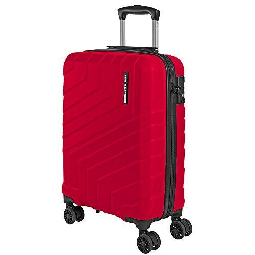 Valigia trolley da viaggio rigida - idonea ryanair e easyjet 55x40x20 cm 44 litri- bagaglio a mano ultra leggero in abs con chiusura tsa e 4 ruote doppie girevoli - perletti travel (rosso, s)