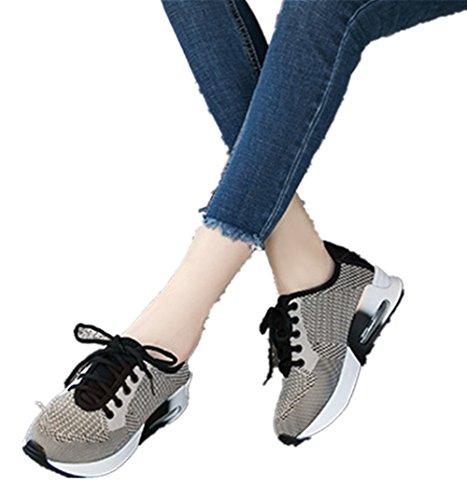 Wealsex Baskets Basse En Mesh Léger Chaussures de Sport Course Fitness Gymnastique Compétition Entraînement Respirante outdoor homme Gris