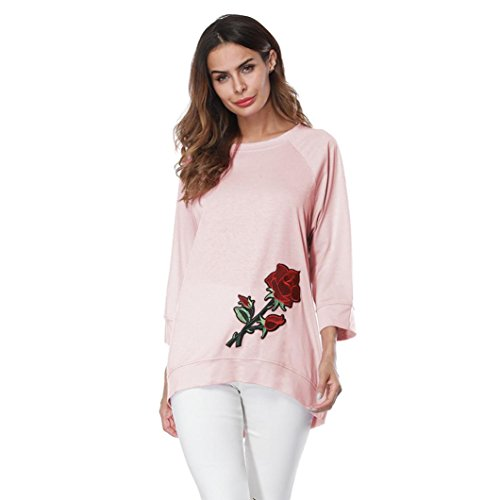 Yogogo Mode Femmes Chemises Manchon Trois Quarts Col Rond Pull Hiver Top Jumper De Broderie Embroidery Floral Solid Shirts Taille Plus Rose