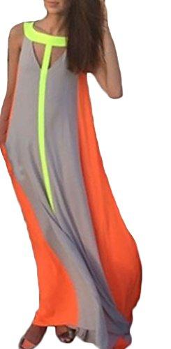 Abendkleider Frauen Maxikleider Swing Schößchen Knöchellang Fließendesärmellos Rundhals Cocktailkleid Lang Sommer Kleid Orange