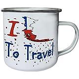 Nuevo I Love Travel Chile Retro, lata, taza del esmalte 10oz/280ml l719e