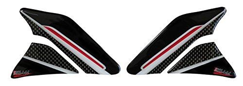 Seitentank-Pad 3D 800143 Carbon Stripes Red - universeller Tank-Schutz passend für Motorrad-Tanks