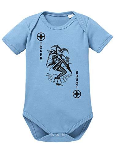 Joker Baby Kostüm - clothinx Baby Body Bio Karneval & Fasching Spielkarte Joker Kostüm Himmelblau/Schwarz Größe 86-92