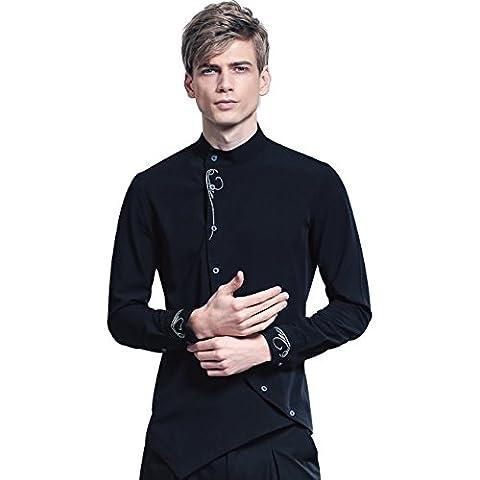 FANZHUAN Herren Hemd Schwarz Langarm Slim Fit Stehkragen Stickerei Smoking Kleidung