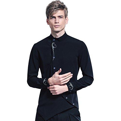 FANZHUAN Slim Fit Freizeithemd Herren Schwarz Langarm Sommer Elegant (Herren-designer-kleidung)