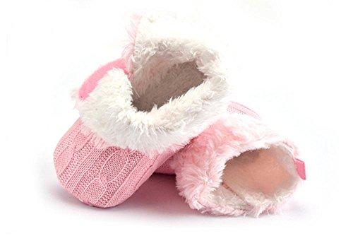 niceEshop(TM) Bébé Filles Tricot Doux Fourrure Hiver Chaude Bottes de Neige Berceau Chaussures Noir Rose