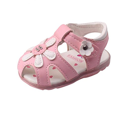 UOMOGO Scarpine neonato Bambino Nuovi girasole ragazze sandali illuminato suola morbida principessa Shoes Sunflower (IT 18, Rosa)