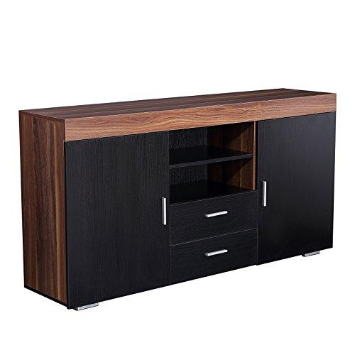 mecor Sideboard Kommode Schwarz Tischschrank Schrank Esszimmer 2 Türen / 2 Schubladen Wohnzimmermöbel Küchen Storage aus Holzwerkstoff in Nussbaum - Nussbaum-schrank-türen