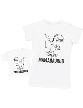 Babysaurus & Mamasaurus - Passende Mutter Baby Geschenk Set - Damen T-Shirt & Baby T-Shirt