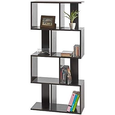 ts-ideen Design Regal Hochregal Standregal Bücherregal CD-Regal Aufbewahrung Holz Schwarz 130 x 60 cm