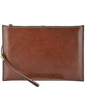 Echtes Leder Clutch Farbe Braun - Italienische Lederwaren - Herrentasche