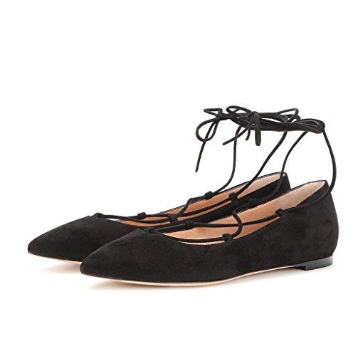 EDEFS Femmes Artisan Fashion Ballerines Pointus Lady Elégants En Lacets Lanières à Cheville Chaussures Plates Noir-S