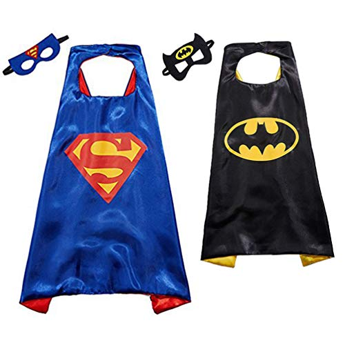 Kids Fancy Dress with Batman and Superhero Costumes for Men&Girls, Children Dress Up Costume with Superman Masks, Batman Masks and Capes Satin, Cosplay Cloaks for Party Supplies(2 Sets, Capes + ()