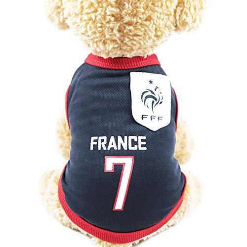 XiangChengShiDing Französische Fußballmannschaft Jersey, 7 Kleidung für Haustiere, Haustier Kleidung mit Länder-Logo, vorbereitet für Sportliebhaber, geeignetes Kostüm für Haustiere, Katzen 4XL