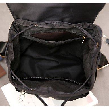 Frauen Rucksack Oxford Tuch alle Jahreszeiten Casual Reisen runden Reißverschluss Schwarz Grün Black