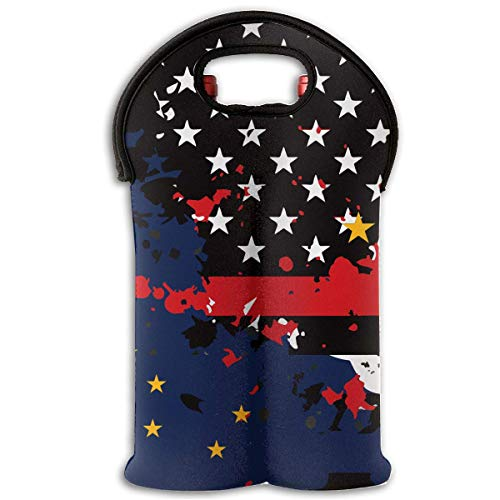 Alaska Thin Red Line Flag USA 2-Bottle Wine Tote Bag Carrier Bag with Handle