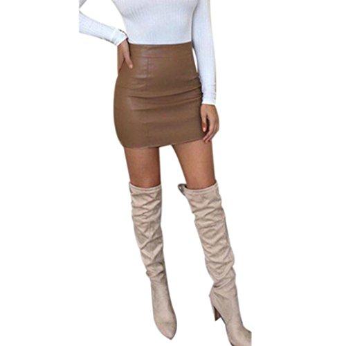Vestido de Verano de Mujer, Dragon868 Minifalda de Cadera Bodycon de Cuero con Cintura Alta y Cintura Alta (M, Cafe)