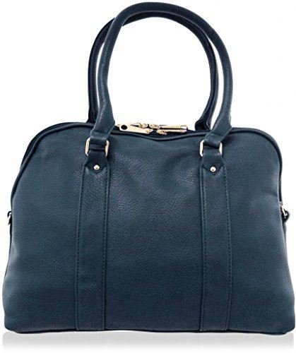 KUKUBIRD OFFICE PLAIN FAUX LEATHER DESIGNER LARGE BOWLING/TOTE HANDBAG DENIM BLUE