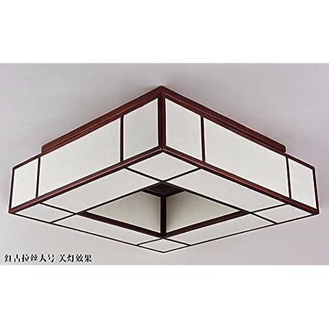 midtawer Nuovi cinesi lampada da soffitto quadrato luci passerelle creative soggiorno studio camera da letto ristorante lampade cinesi,Rosso antico spazzolato,L700*w700*h160*Altezza complessiva230