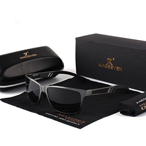 Carbon Aluminium Wayfarer Premium Sonnenbrille Set UV400, Polarisiert Schwarz HD Vision