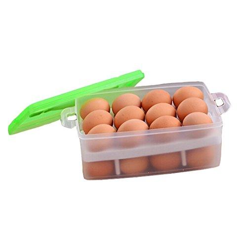 Dealglad® Nueva portátil plástico doble capa refrigerador alimentos huevo cajón caja de almacenamiento recipiente dispensador de soporte cesta Approx. 24 x 16 x 10.5cm (L x W x H) verde