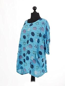 New Italian Ladies Women Lagenlook Polka Dots Cotton Tunic Top Plus Size 16-24 (Turquoise) 2