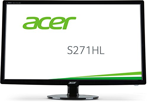 Acer S271HL 27 inch Widescreen Full HD Monitor (16:9, LED, 1 ms, 100M:1, ACM, 250nits, DVI, HDMI, Audio Out, Acer EcoDisplay) - Black
