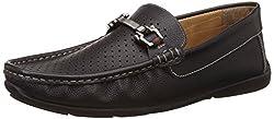 Carlton London Mens Nalah Black Leather Loafers and Moccasins - 7 UK/India (41 EU)