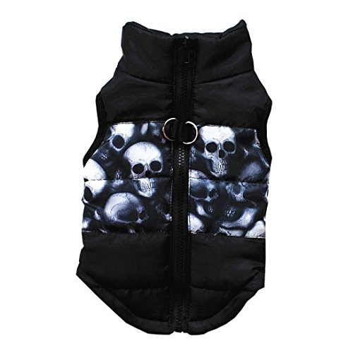 LHWY Katze Hund Mantel Jacke Haustier Lefert Kleidung Winter Bekleidung Kleidung Welpen Kostüm Reißverschluss Weste (XS, Schwarz) -