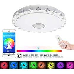 36W RGB led plafonnier, Luminaire encastré, kit de montage lampe, Dimmable, haut-parleur Bluetooth intégré avec télécommande (contrôle Smartphone APP), bon pour le salon de musique, Party