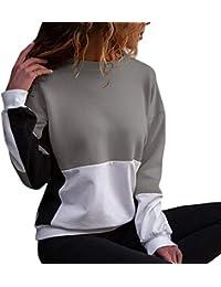VECDY Damen Jacken,Räumungsverkauf-Sweatshirt Damen Farbe Schwarz O-Neck  Langarm Bluse Patchwork 0ee28b6cd7
