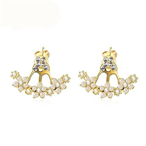 Fjyouria Charm pour femme élégant Plaqué or en forme de poire à tige avant et arrière Fleur Cristal Boucles d'oreille à tige