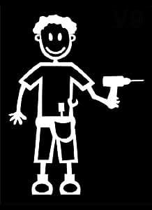 My Stick Figure Family sticker Famille autocollant voiture homme avec des outils M9
