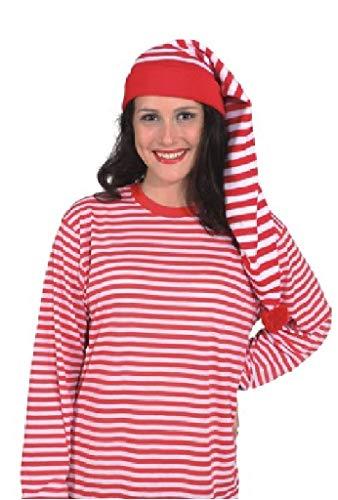 O23773 rot-weiß Damen Herren Zipfelmütze Strickmütze (Gnom Kostüm Damen)