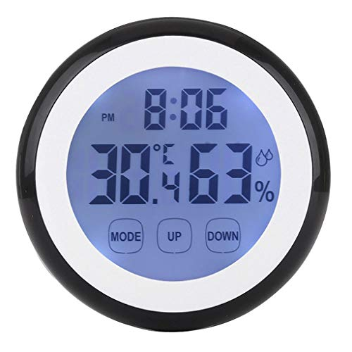 King Boutiques Weather Clock Digitales Thermometer Hygrometer Temperatur-Feuchtemessgerät Alarm-Wetterstation Uhr-Tastenkürzel Grad Celsius/Fahrenheit Grad Haushaltsgegenstände (Color : Black)