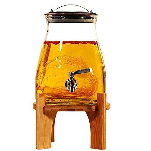 ier & Wein Machen von Glas Flasche Haushalt bleifreie Wein Fass mit Tippen, Größe: 27 * 19 * 13,5 CM (für 5 kg Flüssigkeit), Edelstahl Wasserhahn + Bambus Sitz (12 * 24 CM) (Fermenter Bier)