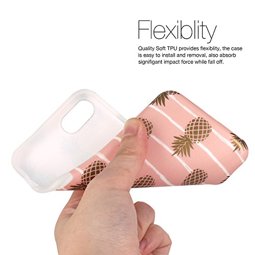 iPhone 7 Hülle, iPhone 8 Hülle, JIAXIUFEN Glänzend Rose Gold Gray Marmor Design Soft TPU Silikon Schutz Handy Hülle Handytasche HandyHülle Case Cover Schutzhülle für Apple iPhone 7 /iPhone 8 Gold Pineapple Baby Pink