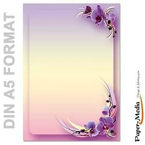 papier motif lettres fleurs d 39 orchid es din a5 format 50 feuille de papier. Black Bedroom Furniture Sets. Home Design Ideas