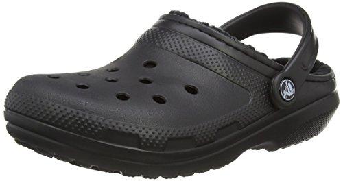 crocs Classic Lined Clog, Unisex - Erwachsene Clogs, Schwarz (Black/Black), 39-40 EU (Croc-klappe)