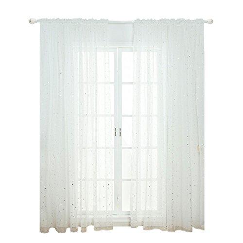 Star a rete voile tulle finestra tenda in voile, moderno per bambini camera da letto soggiorno, white for a rod, 100*270cm