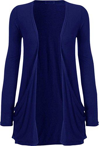 Freund femmes plus size jumper veste en tricot à manches longues en tricot poche sur le dessus Bleu