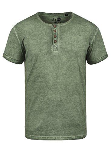 !Solid Tihn Herren T-Shirt Kurzarm Shirt mit Grandad-Ausschnitt Aus 100% Baumwolle, Größe:L, Farbe:Climb Ivy (3785)