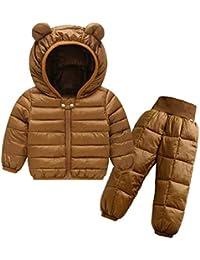 2tlg Winter Schneeanzug Kinder Daunenhose Daunenjacke Mit Kaputze Bekleidungsset DAZISEN Jungen M/ädchen Daunenanzug Set