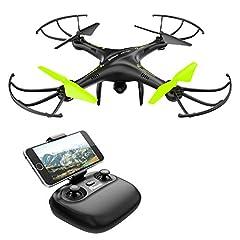 Idea Regalo - Potensic Drone con Telecamera, U42W Aggiornato WiFi FPV 2.4Ghz Hover Droni Quadricottero Videocamera Camera , Headless Mode, 3D Flips