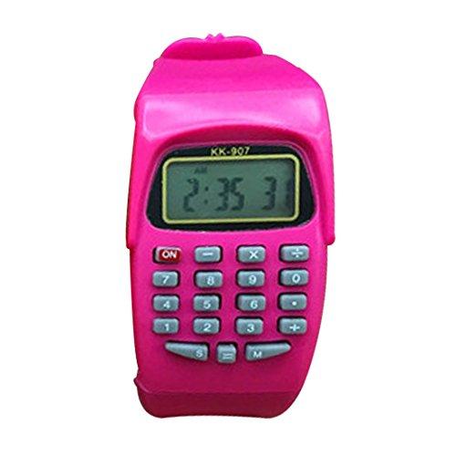 HONGYUANZHANG Multifunktions-Digital-Rechner Mit Led-Uhr-Funktion Casual Silikon Sport Für Kinder Berechnen (3,5 Cm X 5 Cm), Pink