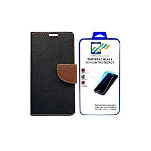 Mobi Fashion Flip Cover For LYF Flame 1 With Tempered Glass - Black Brown